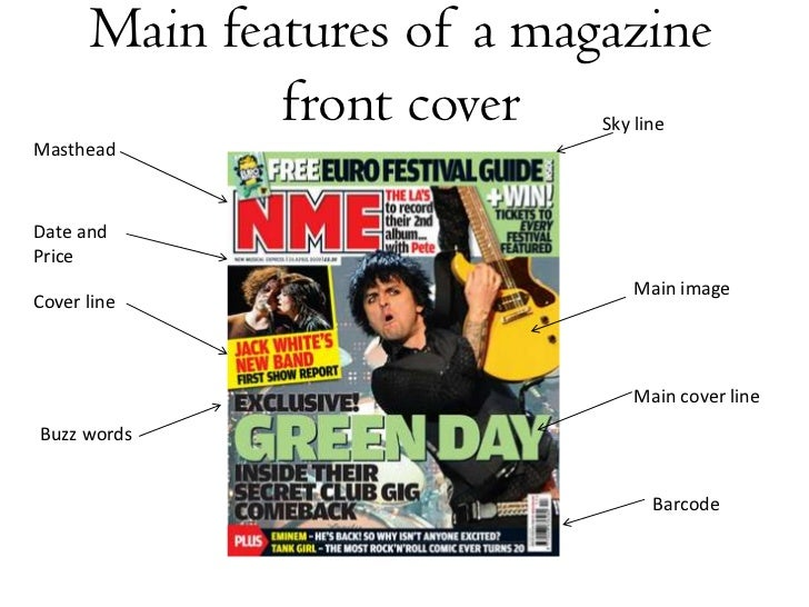 Main features of a magazine front cover <br />Sky line <br />Masthead <br />Date and Price<br />Main image <br />Cover lin...