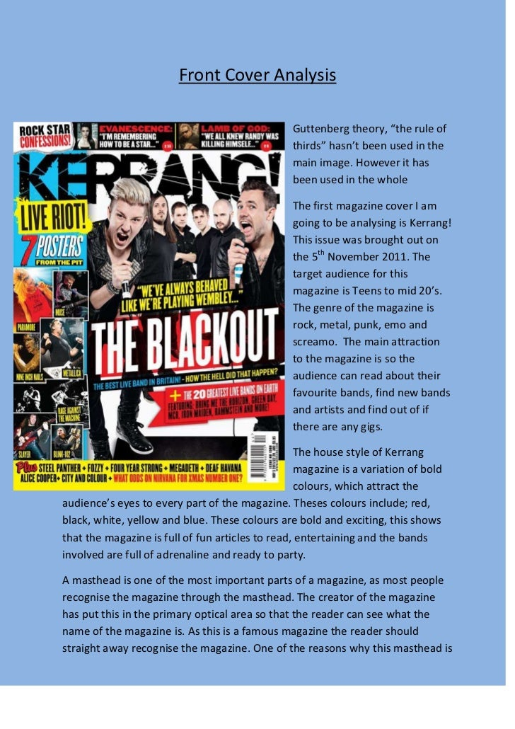"""Front Cover Analysis                                                 Guttenberg theory, """"the rule of                      ..."""