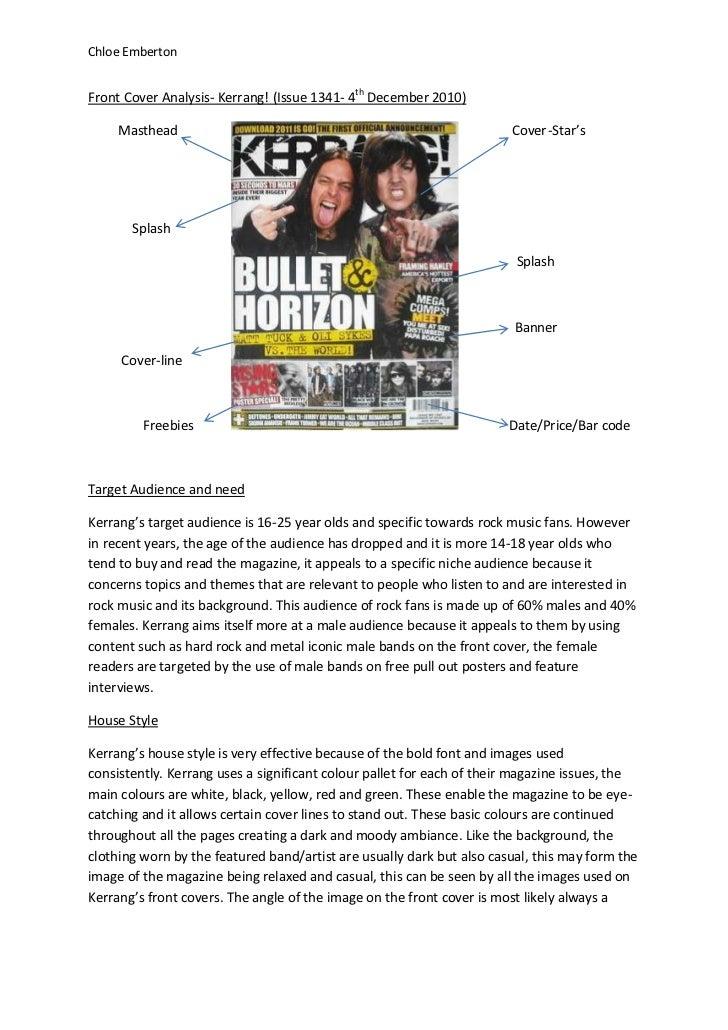 Chloe EmbertonFront Cover Analysis- Kerrang! (Issue 1341- 4th December 2010)     Masthead                                 ...