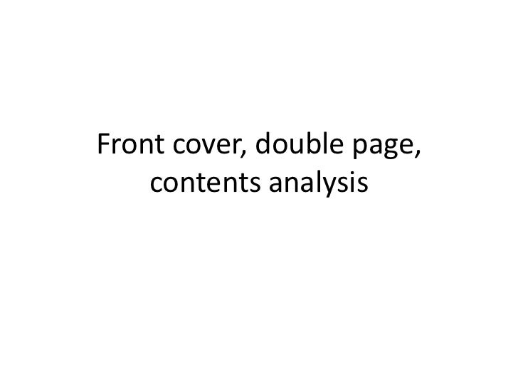 Front cover, double page, contents analysis<br />