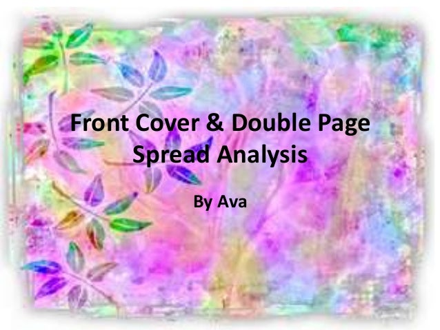 Front Cover & Double Page Spread Analysis By Ava