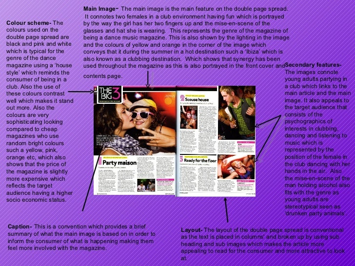 Main Image -  The main image is the main feature on the double page spread.  It connotes two females in a club environment...