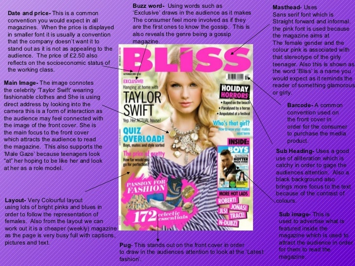 Masthead - Uses Sans serif font which is  Straight forward and informal. the pink font is used because the magazine aims a...