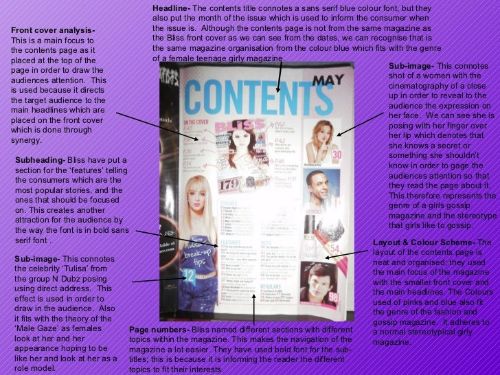 Headline-  The contents title connotes a sans serif blue colour font, but they also put the month of the issue which is us...