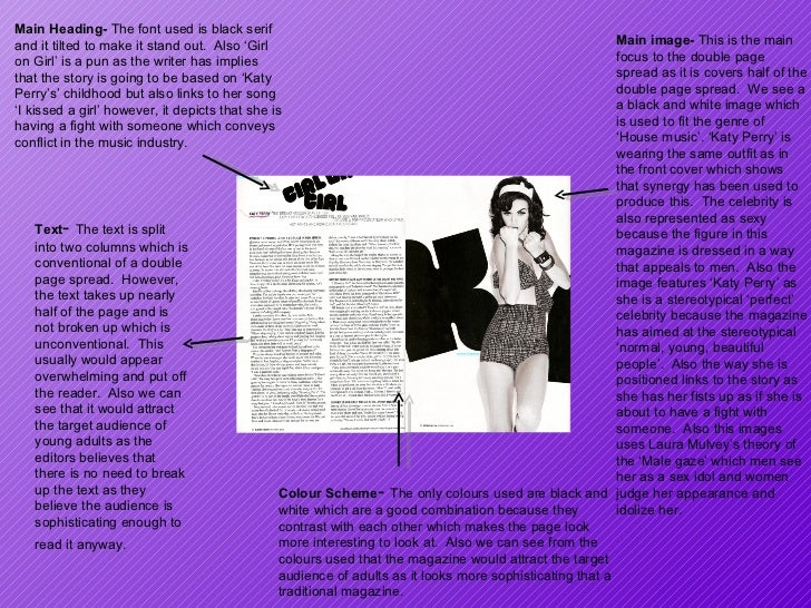 Main image-  This is the main focus to the double page spread as it is covers half of the double page spread.  We see a a ...