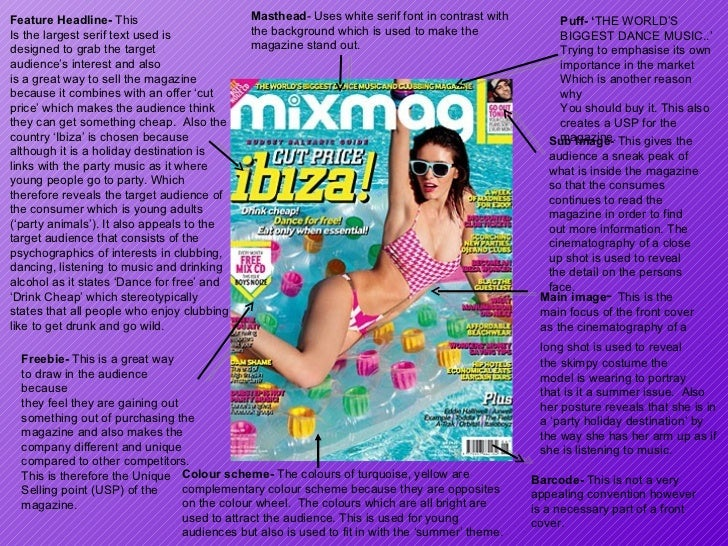 Masthead - Uses white serif font in contrast with the background which is used to make the magazine stand out.  Puff- ' TH...