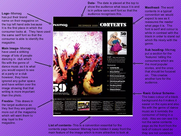 Logo-  Mixmag  has put their brand  name on their magazine on the top left hand side because It is the first place in whic...