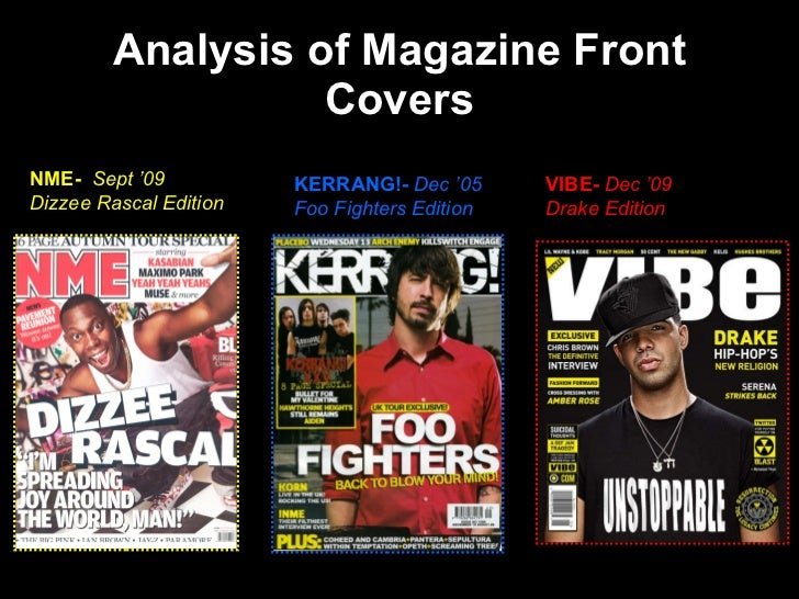 Analysis of front covers for Front of house magazine