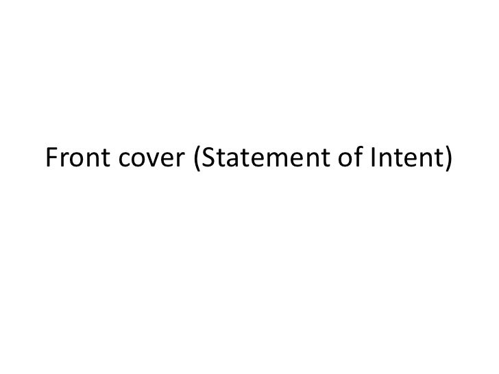 Front cover (Statement of Intent)
