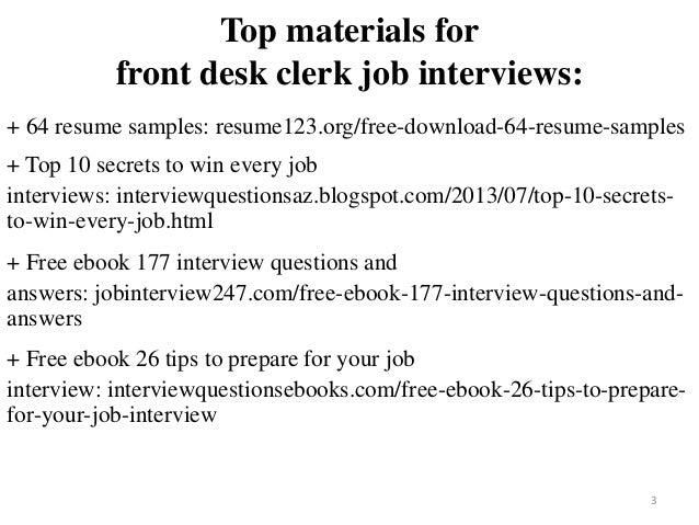 desk clerk resume