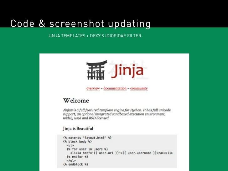 Code & screenshot updating       JINJA TEMPLATES + DEXY'S IDIOPIDAE FILTER