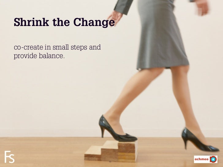 Shrink the Changeco-create in small steps andprovide balance. FRONTEER STRATEGY INNOVATION. CO-CREATION. BRAND DEVELOPMENT...