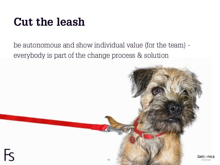 Cut the leashbe autonomous and show individual value (for the team) -everybody is part of the change process & solution   ...