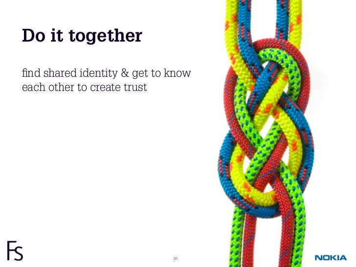 Do it togetherfind shared identity & get to knoweach other to create trust                             20
