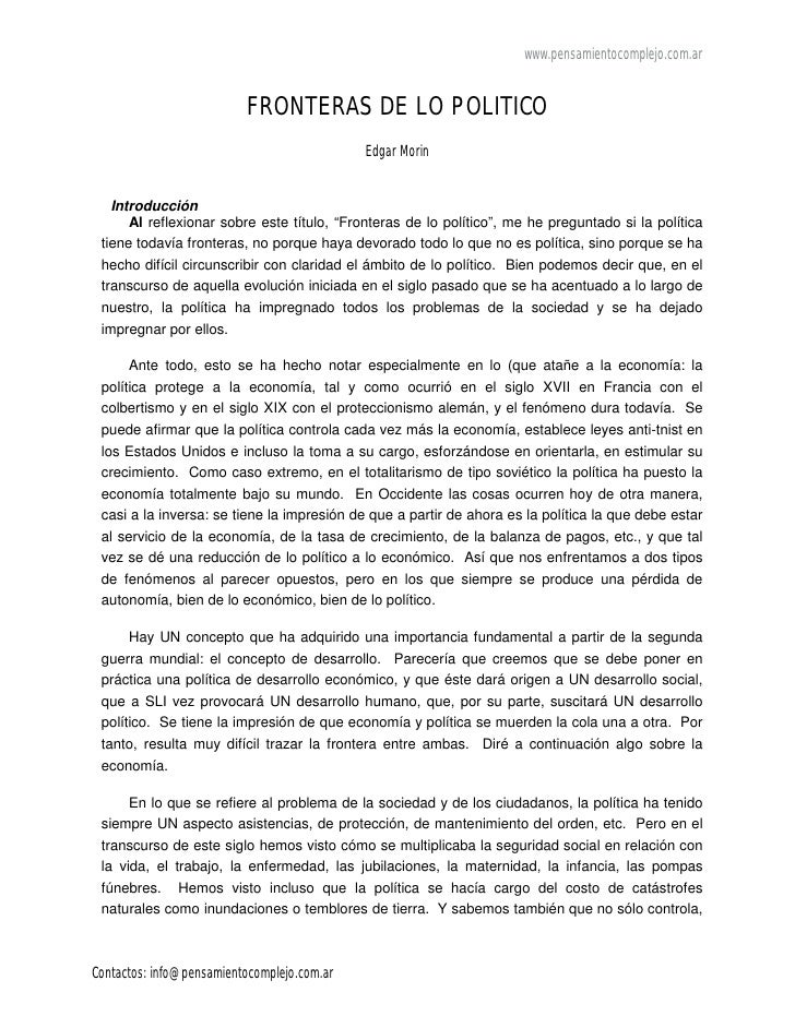 www.pensamientocomplejo.com.ar                          FRONTERAS DE LO POLITICO                                          ...