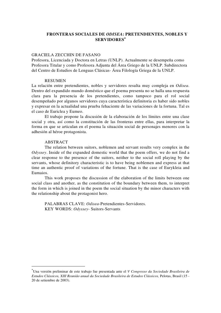FRONTERAS SOCIALES DE ODISEA: PRETENDIENTES, NOBLES Y                            SERVIDORES∗   GRACIELA ZECCHIN DE FASANO ...