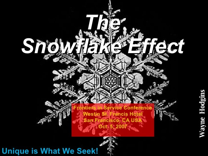 The Snowflake Effect Unique is What We Seek! Wayne  Hodgins Frontiers in Service Conference Westin St. Francis Hotel San F...