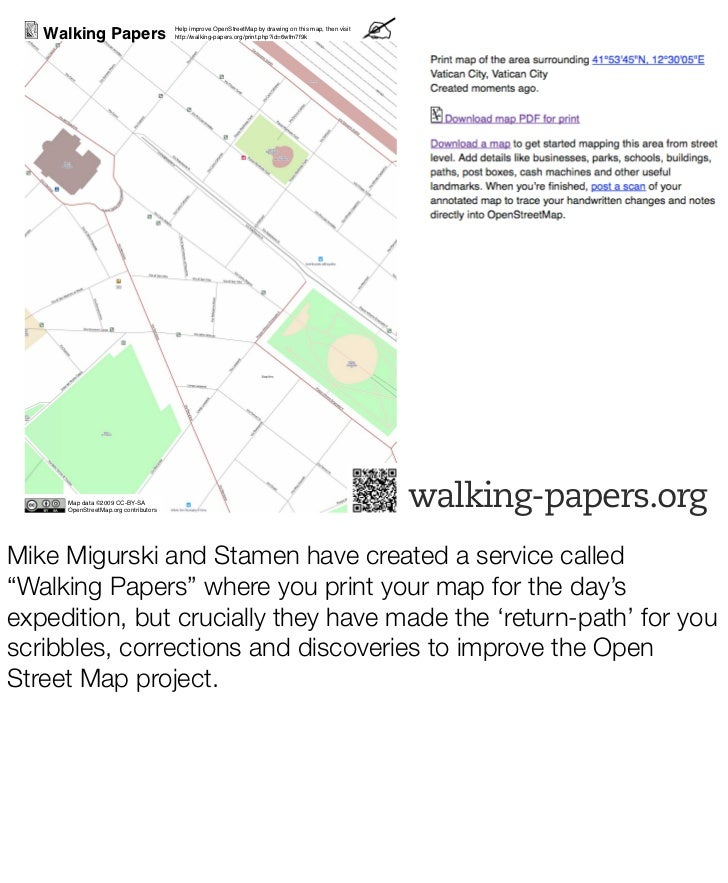 Walking Papers                     Help improve OpenStreetMap by drawing on this map, then visit                          ...
