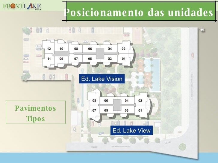 Posicionamento das unidades Pavimentos Tipos Ed. Lake Vision Ed. Lake View