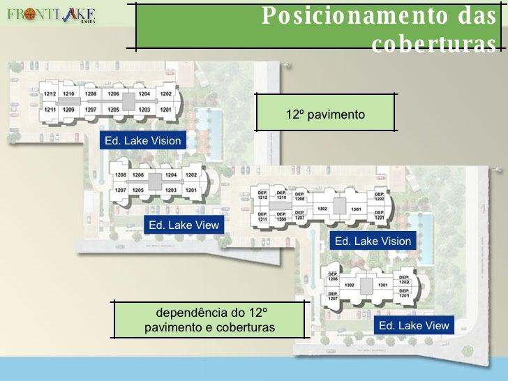 Posicionamento das coberturas 12º pavimento dependência do 12º pavimento e coberturas Ed. Lake Vision Ed. Lake View Ed. La...