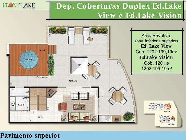 Dep. Coberturas Duplex Ed.Lake View e Ed.Lake Vision Pavimento superior Área Privativa  (pav. inferior + superior) Ed. Lak...
