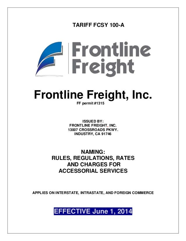 Frontline Freight Rules Tariff 100-A Project