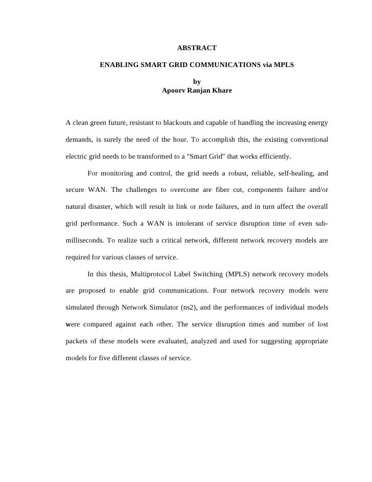 ABSTRACT              ENABLING SMART GRID COMMUNICATIONS via MPLS                                            by           ...