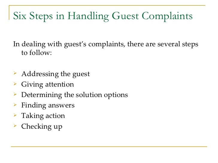 Guest services in hospitality industry 27 six steps in handling guest complaints altavistaventures Gallery