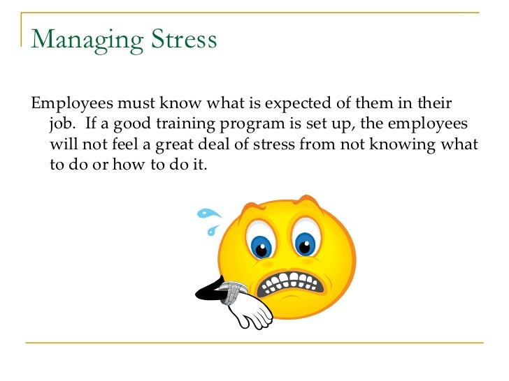 Managing Stress <ul><li>Employees must know what is expected of them in their job.  If a good training program is set up, ...