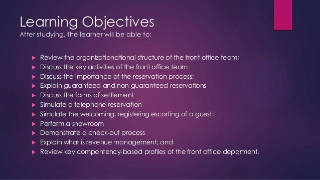 Front Office Department JAYVEES PRESENTATION 2 Learning Objectives