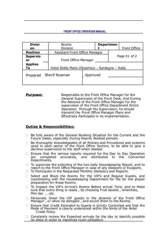 front office dept job rh slideshare net User Manual Guide Auto Manual
