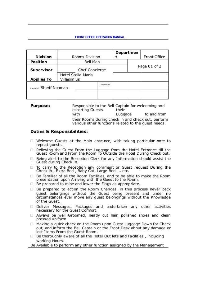 front office dept job rh slideshare net User Manual Guide User Manual PDF