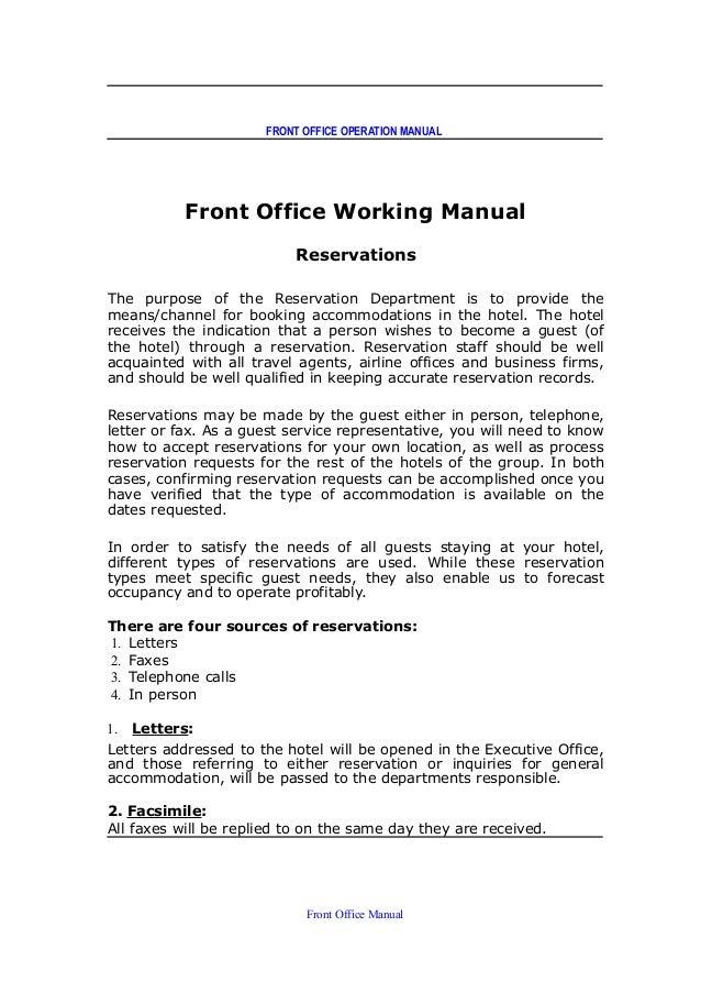front office dept job rh slideshare net Desk Procedures Manual Desk Procedures Manual