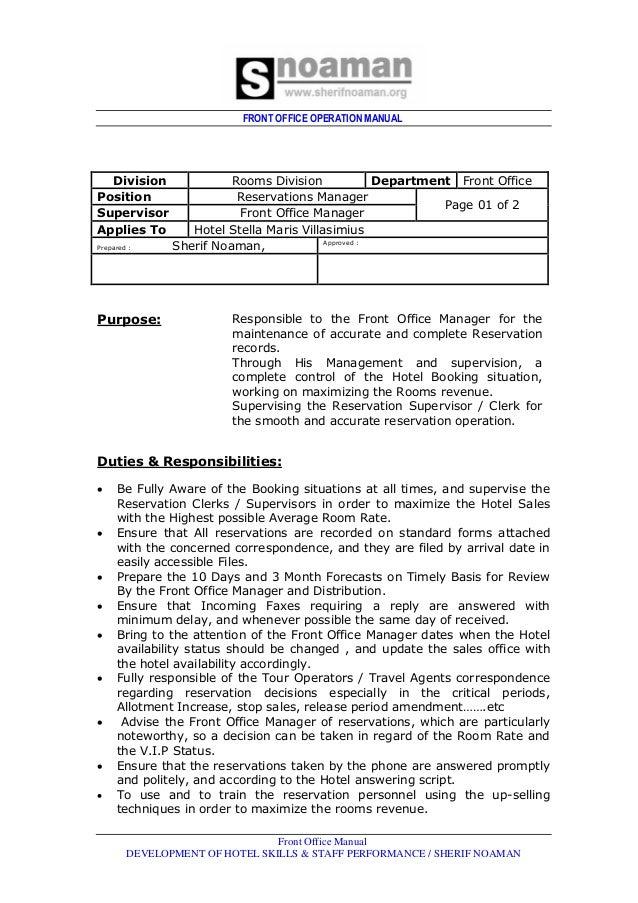 front office dept job rh slideshare net Procedure Manual Maintenance Manual