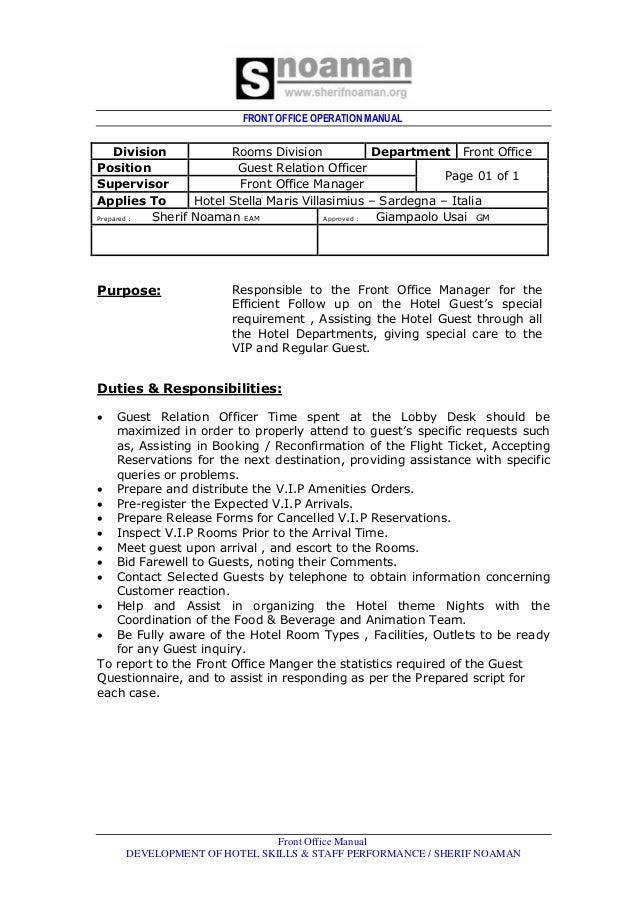 front office dept job rh slideshare net Maintenance Manual User Manual PDF