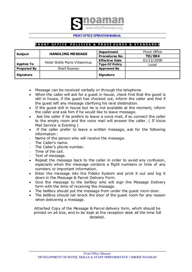 front office dept job rh slideshare net hotel front office policy and procedure manual Hotel Front Desk Manual