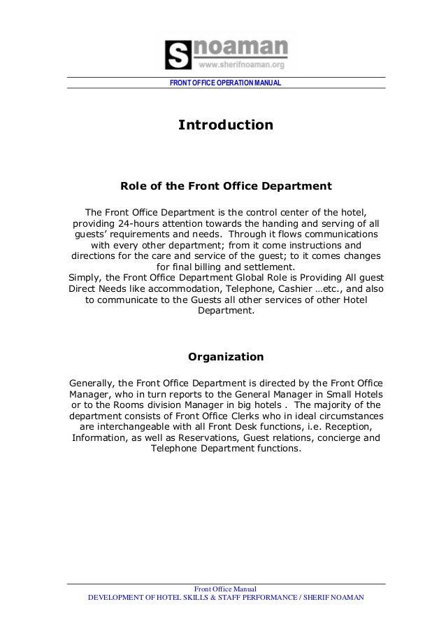 Reception manual.