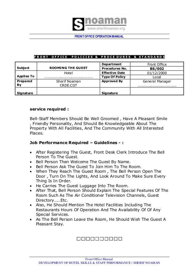 Front Office Dept Job Rh Slideshare Net Front Office Manual By Sudhir  Andrews Front Office Manual Pdf