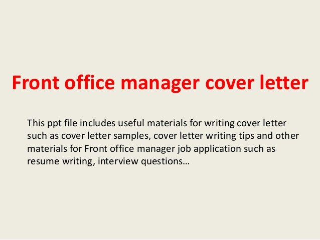Front office manager cover letter