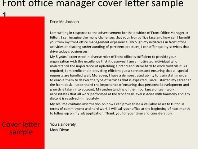 Front Office Manager Cover Letter Rh Slideshare Net Assistant Resume