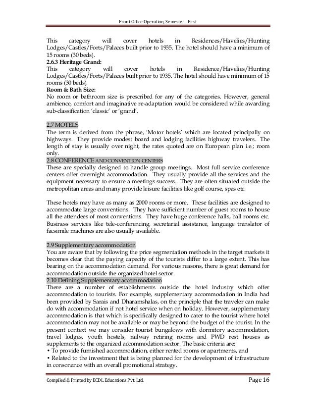 front office operation Front office operation 1 front office operation, semester - first front office operations diploma in hotel & hospitality management subject code-hm-15 school of distance education karnataka state open university, karnataka compiled & printed by ecdl educations pvt ltd page 1.