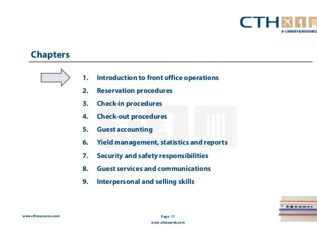 Hotel Front Office Standard Operating Procedures Manuals : Teach
