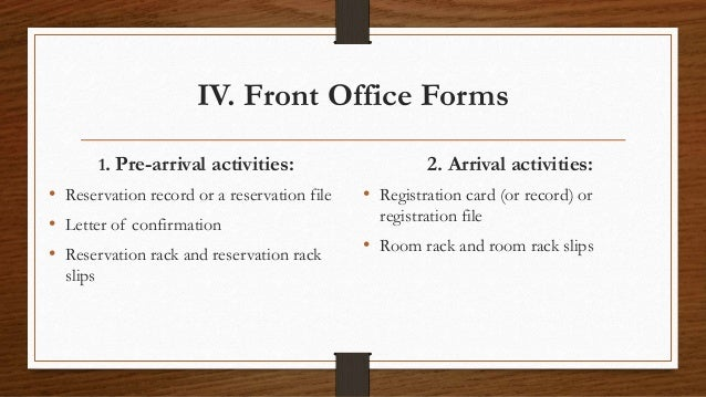 registration in front office Front office management reservation - learn front office management in simple and easy steps starting from introduction, terminology, structure, ranks and.
