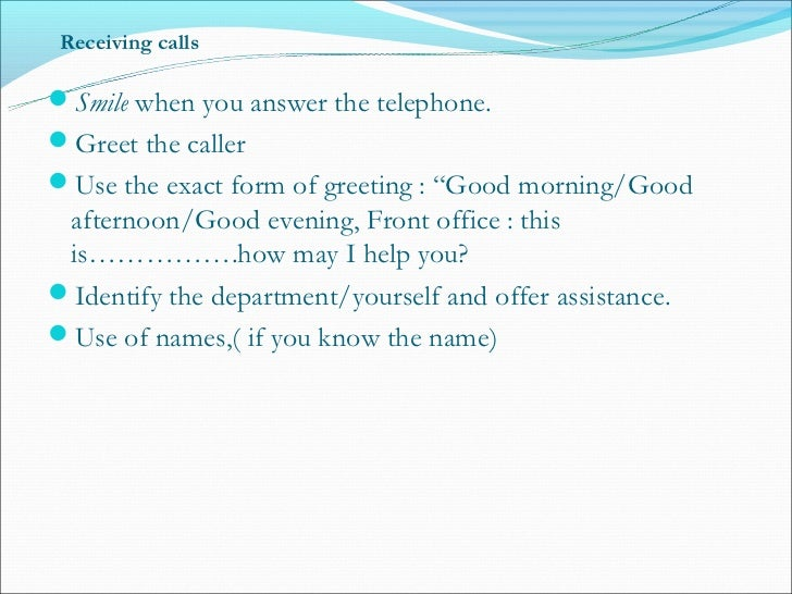 how to answer phone calls in office example