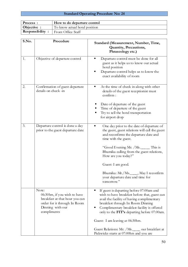 Front office SOP – Free Standard Operating Procedure Template Word