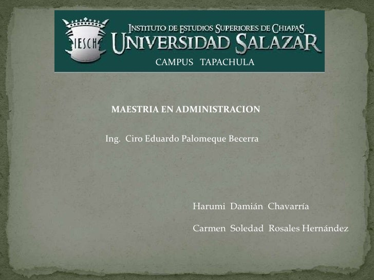 CAMPUS TAPACHULA MAESTRIA EN ADMINISTRACIONIng. Ciro Eduardo Palomeque Becerra                   Harumi Damián Chavarría  ...