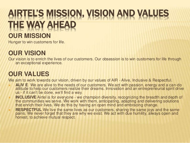 aircel mission statement Find airtel personal plans from airtel ghana website about us |  our mission to produce an overall positive impact on society and our stakeholders, presently.