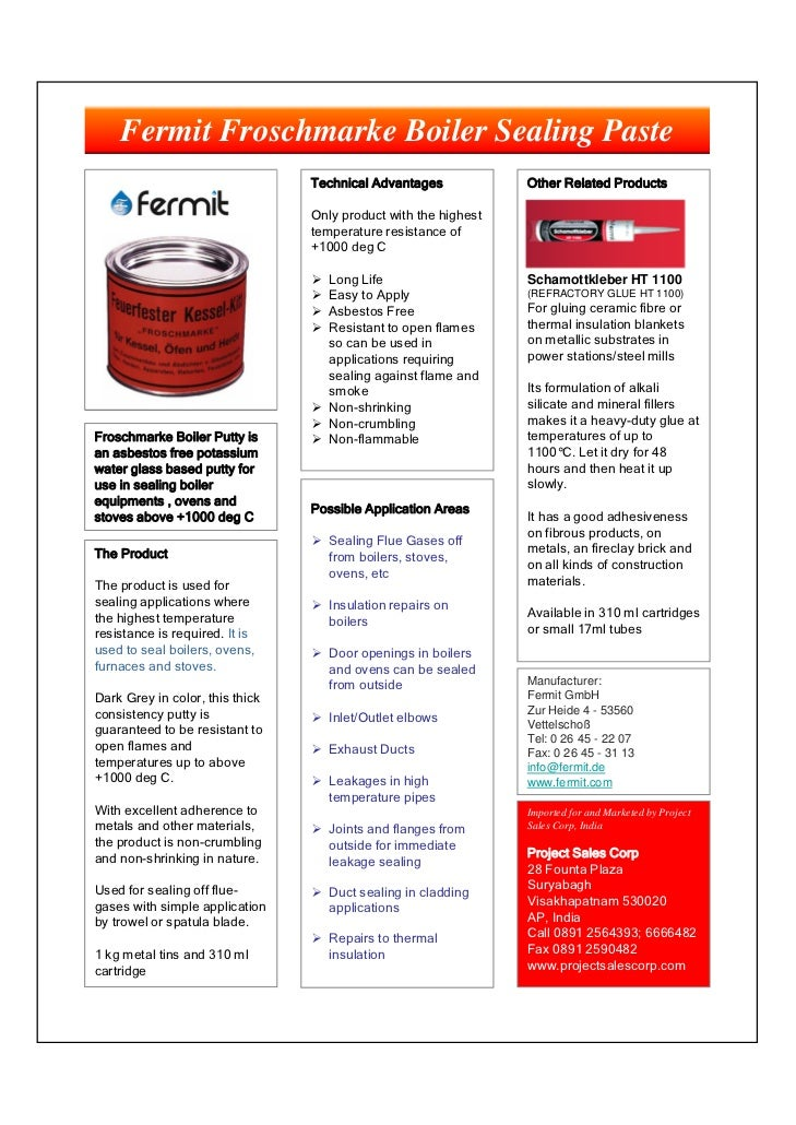 Fermit Froschmarke Boiler Sealing Paste                                 Technical Advantages            Other Related Prod...