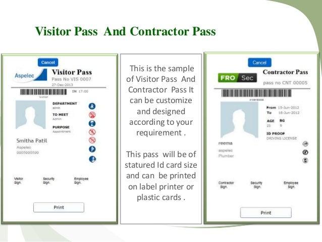 Sample visitors pass