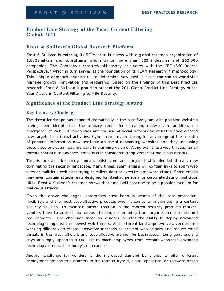 BEST PRACTICES RESEARCHProduct Line Strategy of the Year, Content FilteringGlobal, 2011Frost & Sullivan's Global Research ...